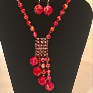 Red Necklace/Earrings